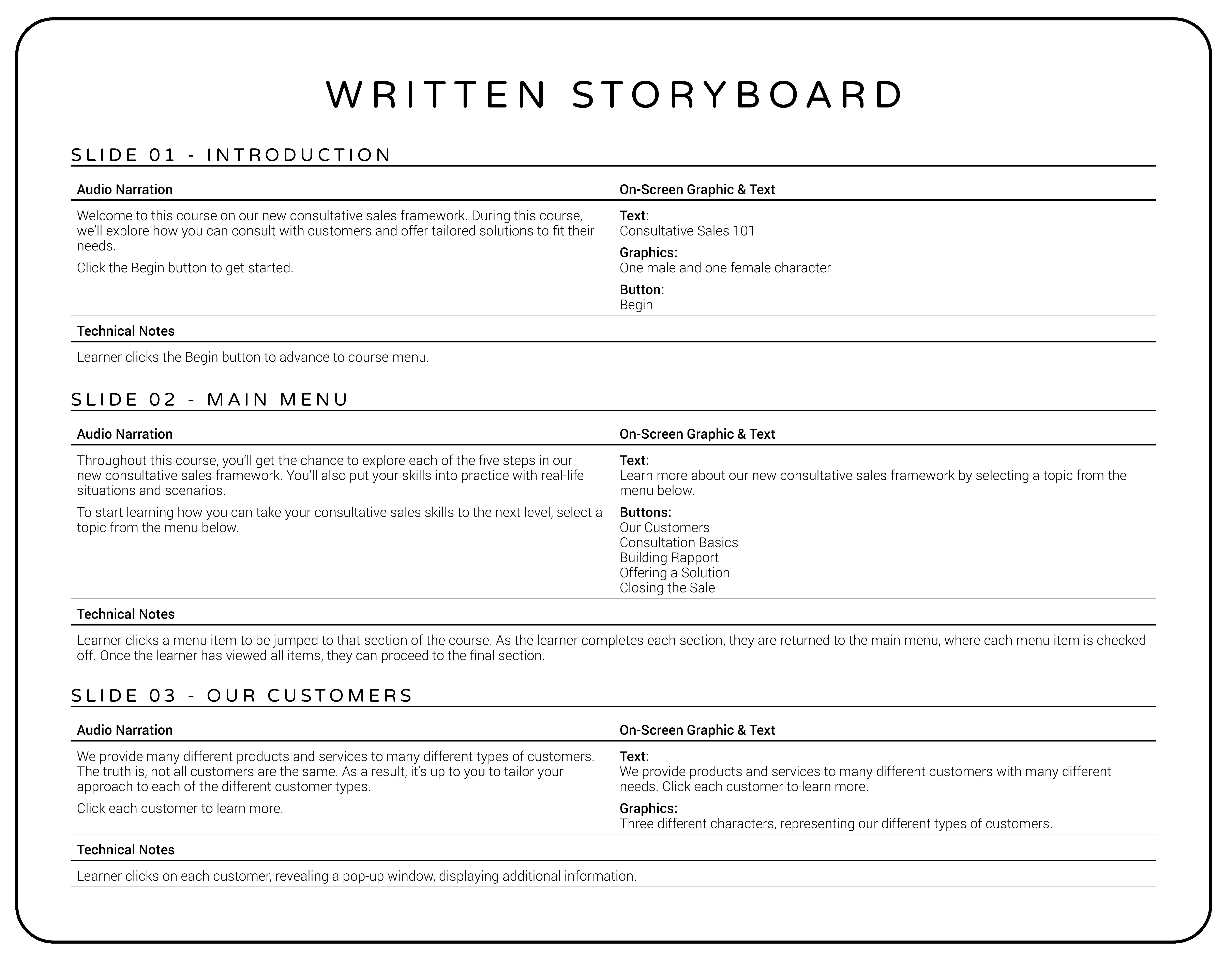 Written eLearning Storyboard Example